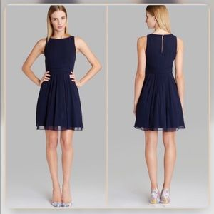 TED BAKER/ silk wrap waist dress navy